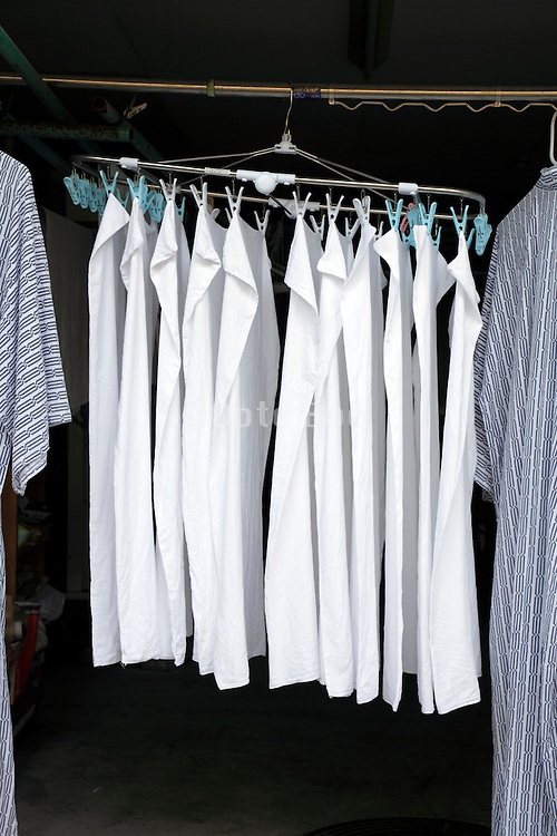 wash drying in an opened garage Japan