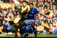 Norwich City midfielder Josh Murphy (11) Ipswich Town defender Cameron Carter-Vickers (27) battles for possession during the EFL Sky Bet Championship match between Norwich City and Ipswich Town at Carrow Road, Norwich, England on 18 February 2018. Picture by Phil Chaplin.