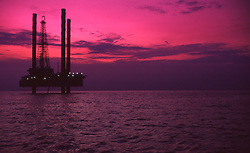 Stock photo of offshore jack-up petroleum drilling rig in singapore