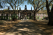 Exterior of the Geffrye Museum almshouses, built in 1714, and front gardens on the 20th September 2019 in London in the United Kingdom.