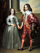 William II, Prince of Orange, and his Bride, Mary Stuart by Anthony van Dyck (1599-1641) oil on canvas, 1641.  The boy is fourteen and the girl only nine.  William's father, Frederick Henry, commissioned the celebrated Flemish painter Van Dyck to portray the young Dutch prince and English princess on the occasion  of their marriage in London.  The union with the daughter of the English king enhanced the status of the House of Orange.  On her gown, Mary were a a gift from William, a large diamond brooch.