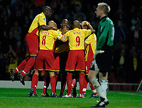Photo: Richard Lane.<br />Watford v Fulham. The Barclays Premiership. 02/10/2006. <br />Watford celebrate  Ashley Young's goal as Fulham keeper, Antti Niemi looks on.