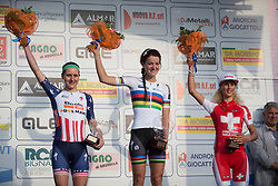 Megan Guarnier, Lizzie Armitstead (both Boels-Dolmans Cycling Team) and Jolanda Neff (Servetto-Footon) stand on the top of the podium of the Trofeo Alfredo Binda - a 123.3km road race from Gavirate to Cittiglio on March 20, 2016 in Varese, Italy.