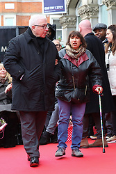 © Licensed to London News Pictures. 04/03/2020. London, UK. JANIS WINEHOUSE and MITCH WINEHOUSE during the unveiling of AMY WINEHOUSE Stone on Camden Music Walk of Fame outside Camden Town tube station. Photo credit: Dinendra Haria/LNP