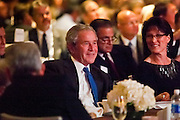 16 MARCH 2011 - PHOENIX, AZ:  Former President George W. Bush waits to speak at Arizona Christian University's 50th anniversary dinner at the Phoenix Convention Center Wednesday night. Hundreds of people from progressive and social justice groups demonstrated against the former president. More than 1200 people paid $500 each to hear the former President.   PHOTO BY JACK KURTZ