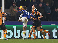 Dominic Calvert Lewin of Everton hits the post with a header during the English Premier League match at the KCOM Stadium, Kingston Upon Hull. Picture date: December 30th, 2016. Pic Simon Bellis/Sportimage
