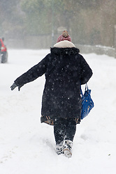 © Licensed to London News Pictures. 2/03/2018. Brynmawr, Blaenau Gwent,, South Wales, UK. People battlle against the blizzard, snowdrifts and horrendous weather conditions as Storm Emma continues without mercy at Brynmawr in South Wales (the highest town in Wales.)  Photo credit: Graham M. Lawrence/LNP