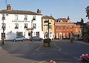 Historic listed buildings in Church Street, Market Hill, Woodbridge, Suffolk, England, UK