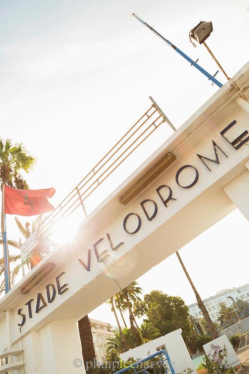 Sign on gate at Stade Velodrome in Casablanca, Morocco