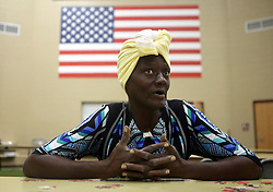 Shere Jones from Corpus Christi, Texas, USA, talks about staying in the FEMA Dome after Hurricane Harvey displaced her, on Wednesday, August 30, 2017, at Tulsa-Midway High School in Corpus Christi. Photo by Gabe Hernandez/Corpus Christi Caller-Times/TNS/ABACAPRESS.COM