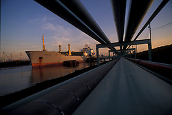 tanker docked at the Port of Houston at sunset