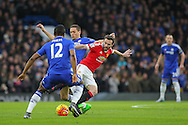 Juan Mata of Manchester United battles with Chelsea's Nemanja Matic during the Barclays Premier League match between Chelsea and Manchester United at Stamford Bridge, London, England on 7 February 2016. Photo by Phil Duncan.