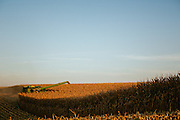 Harvesting corn on an Iowa farm.<br />
