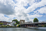 """Marlow, Bucks , United Kingdom, <br /> <br /> General View, GV, """"Marlow Bridge"""", """"Marlow Rowing Club"""", """"The Complete Angler Hotel"""", River Thames, Thames valley, """"Coaching Launches"""", """"Parked/Moored"""", under the Bridge, boat's racked, and """"storage"""" under the Road Bridge,<br /> <br /> Thursday,  15/06/2017, © Peter SPURRIER, . Marlow Bridge,"""
