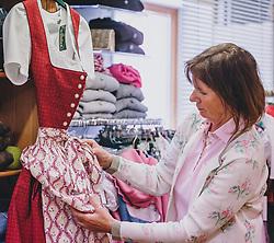 """THEMENBILD - Erika Wallner, Geschäftsinhaberin von """"Tracht & Mode Erika"""" öffnet ihr Trachtengeschäft in Piesendorf am Dienstag 14. April 2020 // Erika Wallner, shop owner of """"Tracht & Mode Erika"""" opens her Tracht shop in Piesendorf, Austria on 2020/04/14. EXPA Pictures © 2020, PhotoCredit: EXPA/ Stefanie Oberhauser"""