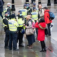 anti-lockdown protest  and march through and ending Trafalgar Square, London 24th oct 2020 photo Brian Jordan