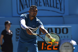 June 22, 2018 - London, United Kingdom - Nick Kyrgios of Australia wins against Feliciano Lopez of Spain during their quarter final match on Day 5 of the Fever-Tree Championships at Queens Club on June 22, 2018 in London, United Kingdom. (Credit Image: © Alberto Pezzali/NurPhoto via ZUMA Press)