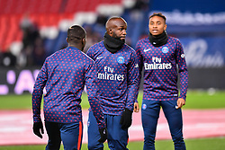 November 2, 2018 - Paris, Ile-de-France, France - Moussa diabi #27 (R), Lassana Diarra #19 (Mid) and Christopher Nkunku #24 (L) during the french Ligue 1 match between Paris Saint-Germain (PSG) and Lille (LOSC) at Parc des Princes stadium on November 2, 2018 in Paris, France. (Credit Image: © Julien Mattia/NurPhoto via ZUMA Press)