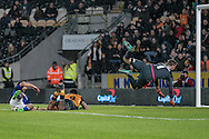 David Marshall (c) (Cardiff City) beaten by the ball during the Sky Bet Championship match between Hull City and Cardiff City at the KC Stadium, Kingston upon Hull, England on 13 January 2016. Photo by Mark P Doherty.