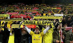 Borussia Dortmund fans raise their scarfs - Mandatory by-line: Robbie Stephenson/JMP - 07/04/2016 - FOOTBALL - Signal Iduna Park - Dortmund,  - Borussia Dortmund v Liverpool - UEFA Europa League Quarter Finals First Leg