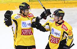 17.01.2012, Albert Schultz Halle, Wien, AUT, EBEL, UPC Vienna Capitals vs SAPA Fehervar AV19, im Bild Torjubel Marcel Rodman, (UPC Vienna Capitals, #22) und Filip Gunnarsson, (UPC Vienna Capitals, #58)  // during the icehockey match of EBEL between UPC Vienna Capitals (AUT) and SAPA Fehervar AV19 (HUN) at Albert Schultz Halle, Vienna, Austria on 17/01/2012,  EXPA Pictures © 2012, PhotoCredit: EXPA/ T. Haumer
