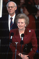 PM Margaret Thatcher and husband Dennis Thatcher seen leaving Downing Street after leaving office as PM in Nov1990. Photograph by Jayne Fincher