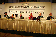 Press conference for the 2006 Praemium Imperiale art awards, given by The Japan Art Association in the Hotel Okura, Tokyo, Japan, on Tuesday, Oct. 17,  2006. The five laureates in 2006 were internationally renowned  Japanese artist Kusama Yayoi (3rd from right), French sculptur Christian Boltanski (2nd from right), German architect Frei Otto (4th from right), American musician Steve Reich (1st left), and Russian dancer ballerina Maya Plisetskaya (2nd left.) (Also shown is Yasuhiro Nakasone, former Prime Minister of Japan, and advisor to the awards, on right of picture). All Laureates receive an honorarium of 15 million Yen, and a medal. The Japan Art Association, giver of the awards, is the oldest cultural foundation in Japan, established in 1887. The laureates are chosen each year by an international jury, from a list of nominees put forward by advisors. The awards are held annually in Tokyo in the presence of Prince and Princess Hitachi.