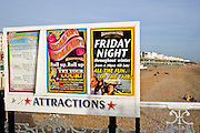 Attractions board by Brighton beach, England, United Kingdom