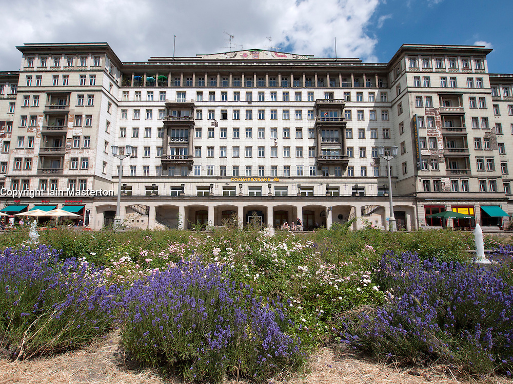 Large socialist era old apartment building on Karl Marx Allee in former East Berlin in Germany