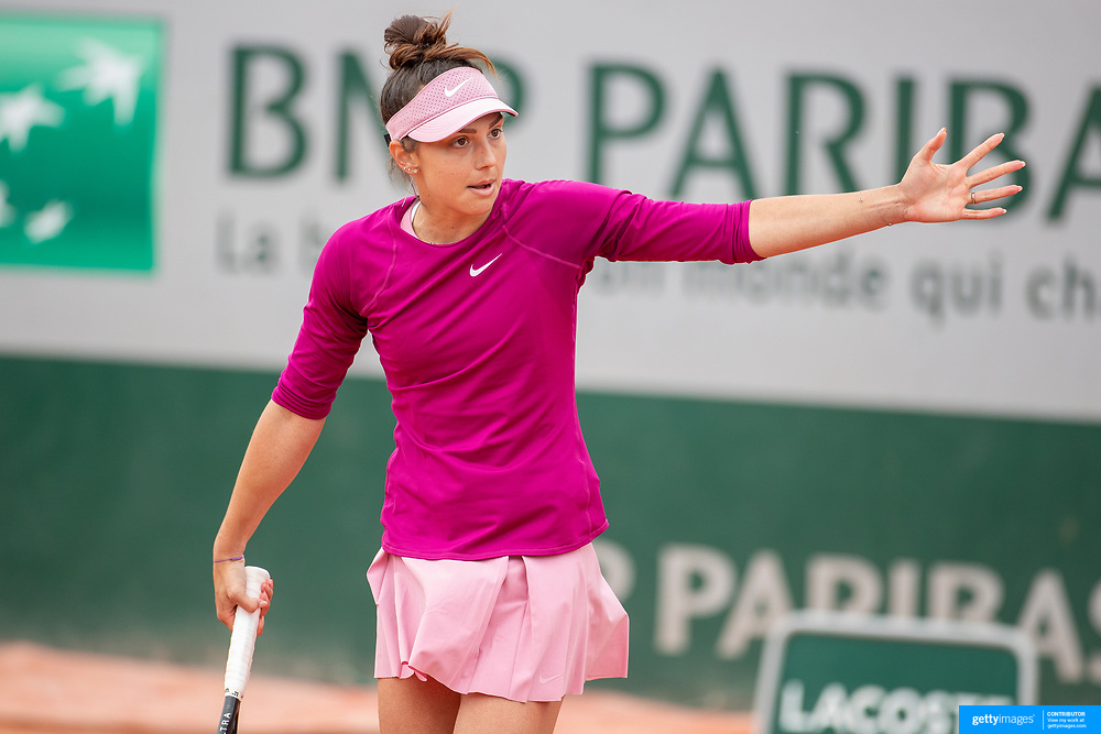 PARIS, FRANCE May 26.  Jaqueline Cristian of Romania celebrates her victory against Mayor Sherif of Egypt on day three of the qualifying tournament at the 2021 French Open Tennis Tournament at Roland Garros on May 26th 2021 in Paris, France. (Photo by Tim Clayton/Corbis via Getty Images)