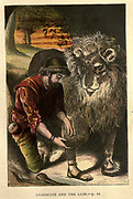 Androcles and the Lion From the Book ' The history of Sandford and Merton ' by Thomas Day, 1748-1789; with original illustrations printed in colours by Edward and George Dalziel,