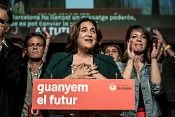 May 27, 2019 - Barcelona, Catalonia, Spain - The current mayor of Barcelona Ada Colau, appears before the media and his militancy to talk about the election results..In the old 'Fabra i Coats' factory the militants and party members from Ada Colau have met to watch the election result where the mayor (Ada Colau) has been defeated by 5000 votes by his rival Ernest Maragall from the party ERC (Esquerra Republicana de Catalunya), but with the same number of seats  (Credit Image: © Xavi Ariza/SOPA Images via ZUMA Wire)