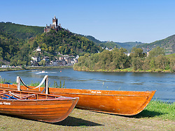 View of Cochem Castle above town of Cochem on Mosel River in n Rheinland-Palatinate  Germany