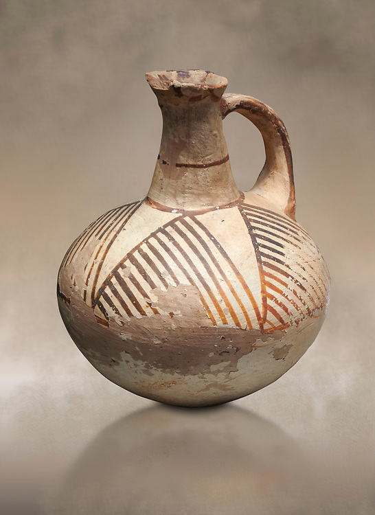 Cycladic ceramic jug with linear decoration. Cycladic II (2800-2300 BC) , Chalandriani, Syros. National Archaeological Museum Athens. Cat no 5147. .<br /> <br /> If you prefer to buy from our ALAMY PHOTO LIBRARY  Collection visit : https://www.alamy.com/portfolio/paul-williams-funkystock/cycladic-art-artefacts.html Type into the LOWER SEARCH WITHIN GALLERY box to refine search by adding background colour, place, museum etc<br /> <br /> Visit our CYCLADIC CIVILISATIONS PHOTO COLLECTIONS for more photos to download or buy as wall art prints https://funkystock.photoshelter.com/gallery-collection/Cycladic-civilisation-Ancient-Greek-Artefacts-art-Photos-Pictures-Images/C0000CmevVvnC.XU
