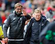 Jurgen Klopp manager of Liverpool waves off Ronald Koeman manager of Everton during the English Premier League match at Anfield Stadium, Liverpool. Picture date: April 1st 2017. Pic credit should read: Simon Bellis/Sportimage