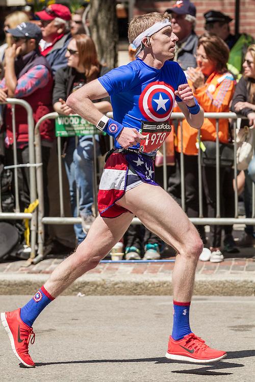 2014 Boston Marathon: runner heads for finish line