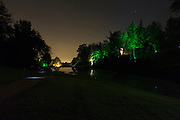 Wideangle of the illuminations set up around the main lake in Hestercombe Gardens. Part of the Illumina Project by Ulf Pedersen.