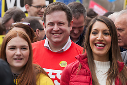London, UK. 23rd March, 2019. Stephen Doughty, Labour MP for Cardiff South and Penarth, joins a million people taking part in a People's Vote march through central London before attending a rally in Parliament Square.