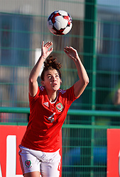 YSTRAD MYNACH, WALES - Wednesday, April 5, 2017: Wales' Angharad James takes a throw-in during the Women's International Friendly match against Northern Ireland at Ystrad Mynach. (Pic by Laura Malkin/Propaganda)