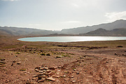 Moroccan Landscape with lake and desert