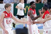 Esultanza Armani Milano, DOLOMITI ENERGIA TRENTINO vs EA7 EMPORIO ARMANI OLIMPIA MILANO, gara 6 Finale Play off Lega Basket Serie A 2017/2018, PalaTrento Trento 15 giugno 2018 - FOTO: Bertani/Ciamillo
