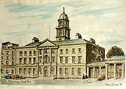 Randon Images of postcard drawings from Ireland Rotunda Hospital Old amateur photos of Dublin streets churches, cars, lanes, roads, shops schools, hospitals