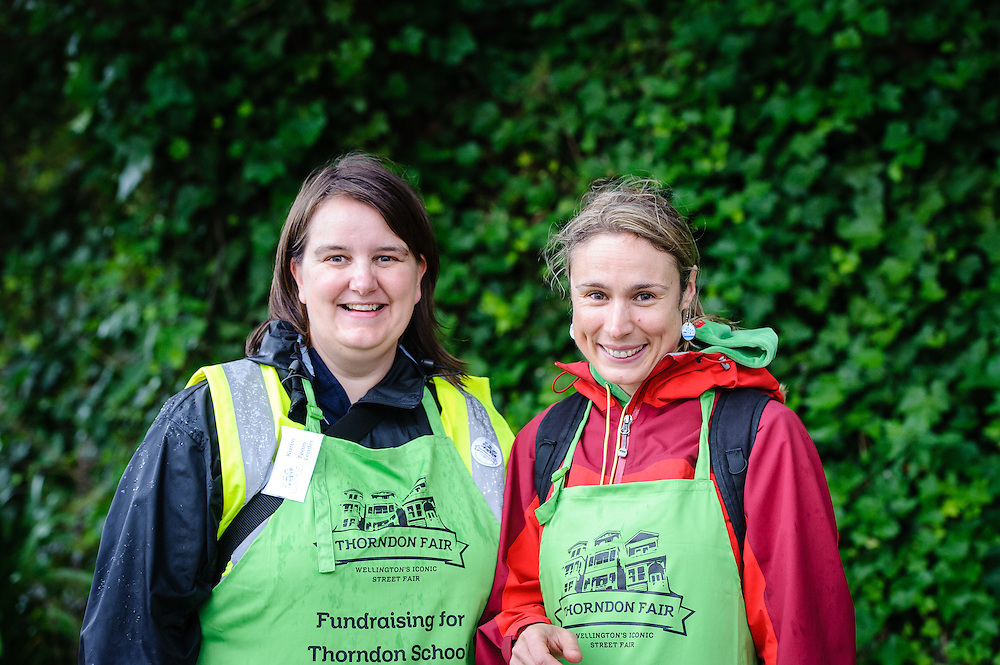 WELLINGTON, NEW ZEALAND - December 07:  Karen Smith and Alex Foley, volunteers accepting gold coin donations at the 2014 Thorndon Fair greeting guests arriving. December 07, 2014 in Wellington, New Zealand.  REAL PEOPLE.  (Photo by Mark Tantrum/ real-people.co.nz)