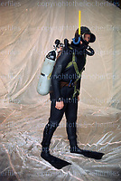 SAS trooper equipped in 'frogman' equipment, displaying the vast elite capabilities the SAS can achieve. Photograph by Terry Fincher, Hereford 1970.