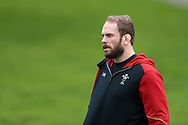 Alun Wyn Jones, the Wales captain looks on . Wales Rugby team training at the Vale Resort, Hensol near Cardiff, South Wales on Wednesday 8th March 2017. The team are preparing for the the RBS Six nations match against Ireland.  pic by  Andrew Orchard, Andrew Orchard sports photography.