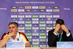18.06.2011, Bremen Arena, Bremen, GER, FIVB World League, Vorrunde Pool B, Deutschland (GER) vs Bulgarien (BUL), im Bild Raul Lozano (Bundestrainer GER) und nult wahrend der Pressekonferenz // during FIVB World League game, Germany vs Bulgaria, at Bremen Arena, Bremen, 2010-06-18, EXPA Pictures © 2011, PhotoCredit: EXPA/ nph/  Kurth       ****** out of GER / SWE / CRO  / BEL ******