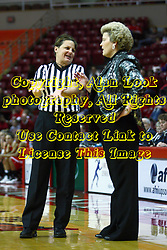 30 December 2010: Referee Marissa Whaley explains a call to Stephanie Glance during an NCAA Womens basketball game between the Bradley Braves and the Illinois State Redbirds at Redbird Arena in Normal Illinois.
