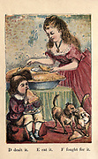 The History of A apple Pie alphabet rhymes From the book ' A apple pie and other nursery tales : forty-eight pages of illustrations : printed in colours by Kronheim & Co ' Published by  : George Routledge and Sons 1870