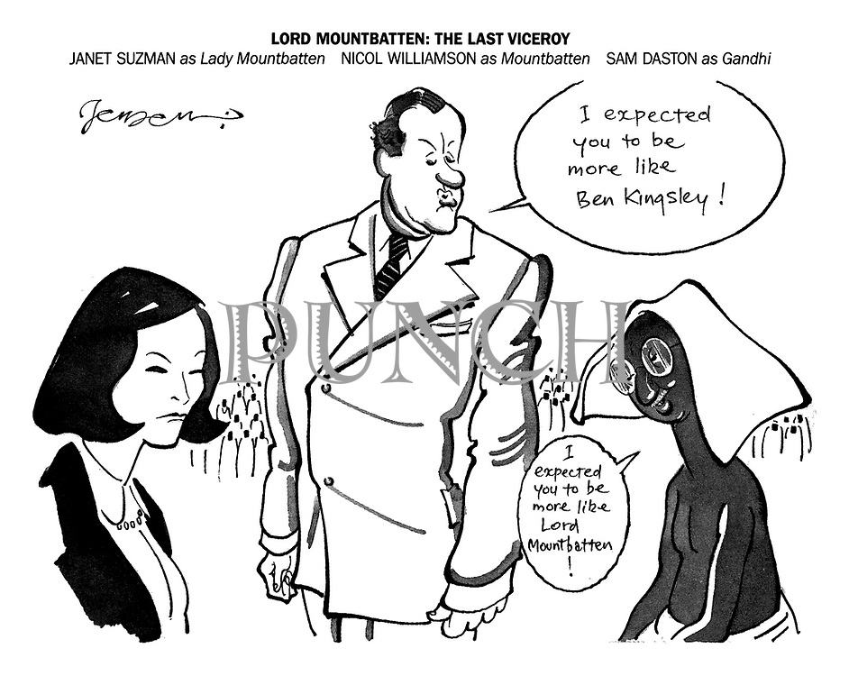Lord Mountbatten: The Last Viceroy. Janet Suzman as Lady Mountbatten, Nicol Williamson as Mountbatten, Sam Daston as Gandhi