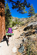 Backpackers on the North Fork of Big Pine Creek, Inyo National Forest, California